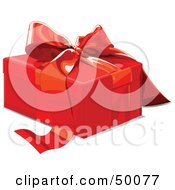 Royalty Free RF Clipart Illustration Of A Red Gift Box Sealed With A Red Ribbon