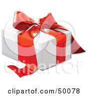 Royalty Free RF Clipart Illustration Of A White Gift Box Sealed With A Red Ribbon