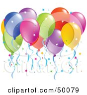 Royalty Free RF Clipart Illustration Of A Colorful Group Of Balloons Floating With Confetti
