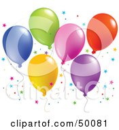 Royalty Free RF Clipart Illustration Of A Colorful Group Of Balloons Floating With Star Shaped Confetti