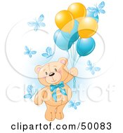 Royalty Free RF Clipart Illustration Of A Boy Teddy Bear Floating Away With Butterflies And Balloons