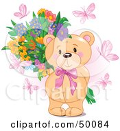 Royalty Free RF Clipart Illustration Of Pink Butterflies Surrounding A Sweet Teddy Bear Holding A Floral Bouquet Behind Its Back by Pushkin