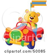 Royalty Free RF Clipart Illustration Of A Teddy Bear Waving And Driving A Convertible Car