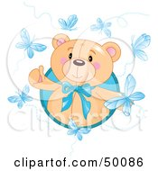Royalty Free RF Clipart Illustration Of A Happy Bear Surrounded By Blue Butterflies by Pushkin