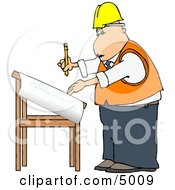 Male Architectural Engineer Writing On A Blueprint With A Pencil