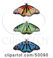 Royalty Free RF Clipart Illustration Of A Digital Collage Of Spanned Colorful Monarch Butterflies