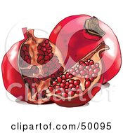 Royalty Free RF Clipart Illustration Of A Cute Pomegranate With Seeds by Pushkin