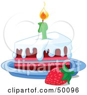 Strawberry By A Frosted Birthday Cake Slice And A Lit Candle
