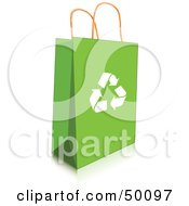 Royalty Free RF Clipart Illustration Of A Green Recycled Shopping Or Gift Bag With Recycle Arrows by Pushkin