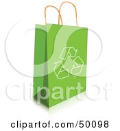 Royalty Free RF Clipart Illustration Of A Recycle Arrow Icon On A Green Shopping Bag by Pushkin