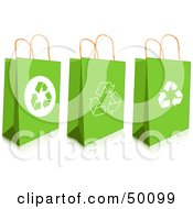 Royalty Free RF Clipart Illustration Of A Digital Collage Of Three Green Recycled Gift Or Shopping Bags by Pushkin
