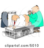 Humorous Male Doctor Giving Patient A Prostate Examination Clipart