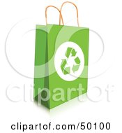 Royalty Free RF Clipart Illustration Of A Green Recycled Shopping Bag With Recycle Arrows by Pushkin