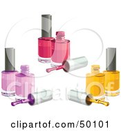 Royalty Free RF Clipart Illustration Of A Digital Collage Of Pink Purple And Yellow Nail Polish Bottles