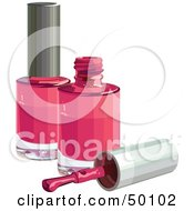 Royalty Free RF Clipart Illustration Of A Brush Resting By Two Bottles Of Pink Nail Polish