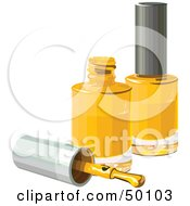 Royalty Free RF Clipart Illustration Of A Brush Resting By Two Bottles Of Yellow Nail Polish