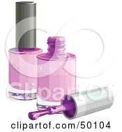 Royalty Free RF Clipart Illustration Of A Brush Resting By Two Bottles Of Purple Nail Polish