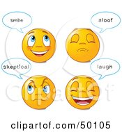 Digital Collage Of Four Happy And Grumpy Emoticon Faces With Statements