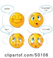 Royalty Free RF Clipart Illustration Of A Digital Collage Of Four Happy And Sad Emoticon Faces With Statements