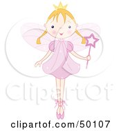 Royalty Free RF Clipart Illustration Of A Blond Ballet Fairy Princess Standing On Her Tippy Toes
