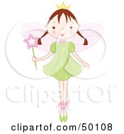Royalty Free RF Clipart Illustration Of A Brunette Ballet Fairy Princess Standing On Her Tippy Toes