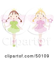 Royalty Free RF Clipart Illustration Of A Digital Collage Of Two Fairy Princess Girls In Ballet Slippers