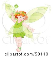 Royalty Free RF Clipart Illustration Of A Red Haired Baby Fairy In Green Holding A Magic Wand