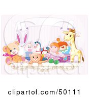 Royalty Free RF Clipart Illustration Of A Toy Shelf With Stuffed Animals And A Jack In The Box Under A Blank Banner Against A Pink Wall by Pushkin