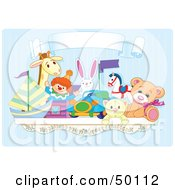 Royalty Free RF Clipart Illustration Of A Toy Shelf With Stuffed Animals And A Jack In The Box Under A Blank Banner Against A Blue Wall by Pushkin