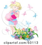 Little Blond Girl Surrounded By Butterflies Watering Her Flower Garden