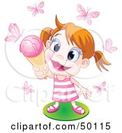 Happy Little Girl Holding Up An Ice Cream Cone To Pink Butterflies