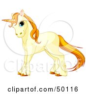 Royalty Free RF Clipart Illustration Of A Beige Unicorn With Golden Hooves Hair And Horn