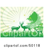 Royalty Free RF Clipart Illustration Of A Bursting Sky Behind Green Silhouetted Deer With Yellow Butterflies by Pushkin