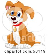 Royalty Free RF Clipart Illustration Of A Hyper Puppy Dog Sitting And Wearing A Collar by Pushkin