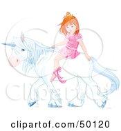 Little Princess Riding A White Unicorn