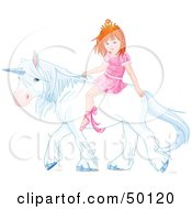 Royalty Free RF Clipart Illustration Of A Little Princess Riding A White Unicorn by Pushkin