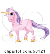 Royalty Free RF Clipart Illustration Of A Magical Purple Unicorn With Golden Hooves And A Horn And Sparkling Hair by Pushkin