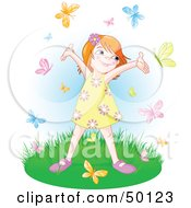 Royalty Free RF Clipart Illustration Of A Carefree Little Girl Holding Her Arms Up While Being Circled By Butterflies by Pushkin