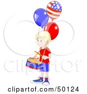 Royalty Free RF Clipart Illustration Of A Blond American Drummer Boy With Patriotic Balloons
