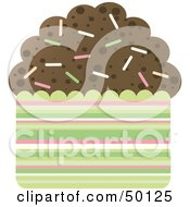 Royalty Free RF Clipart Illustration Of A Chocolate Brownie Cupcake With Colorful Sprinkles by Melisende Vector