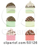 Royalty Free RF Clipart Illustration Of A Digital Collage Of Chocolate Cupcakes With Sprinkles by Melisende Vector