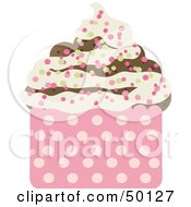 Royalty Free RF Clipart Illustration Of A Chocolate Cupcake With Vanilla Frosting And Colorful Sprinkles