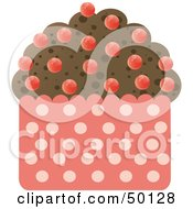 Royalty Free RF Clipart Illustration Of A Chocolate Brownie Cupcake With Red Candy Drops by Melisende Vector