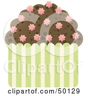 Royalty Free RF Clipart Illustration Of A Chocolate Brownie Cupcake With Flower Sprinkles
