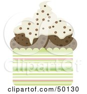Royalty Free RF Clipart Illustration Of A Chocolate Cupcake With Vanilla Frosting And Chocolate Sprinkles