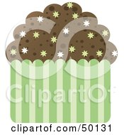 Royalty Free RF Clipart Illustration Of A Chocolate Brownie Cupcake With Burst Sprinkles by Melisende Vector