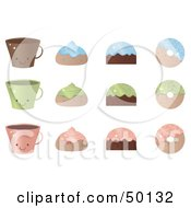 Royalty Free RF Clipart Illustration Of A Digital Collage Of Blue Green And Pink Coffee Cups Pastries And Donuts