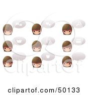 Royalty Free RF Clipart Illustration Of A Digital Collage Of Female Head Icons With Chat Balloons And Symbols