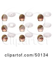Royalty Free RF Clipart Illustration Of A Digital Collage Of Female Head Icons With Chat Balloons Words And Symbols