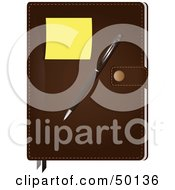 Royalty Free RF Clipart Illustration Of A Sticky Note And Pen On A Leather Agenda Book by Melisende Vector